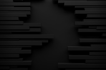 abstract black spike rhythm wave background 3d rendering