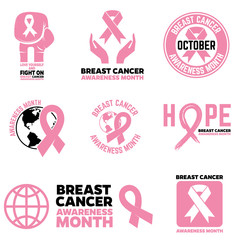 Breast Cancer Awareness month emblems, badges and design element