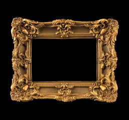 Beautiful frame for a picture, a photo, and a mirror on a black background.