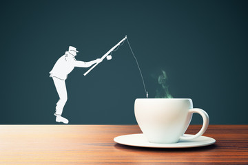 Man silhouette fishing in coffee cup