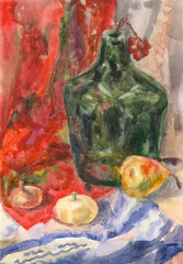 Still life with green bottle, pumpkin, onion, pear and rowan on red drape, hand draw watercolor painting, vintage
