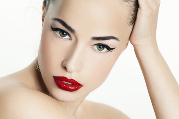 red lips beauty portrait