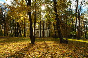 Pavilion in autumn Park. Marfino, Moscow Region, Russia.