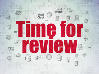 Timeline concept: Time for Review on Digital Data Paper background