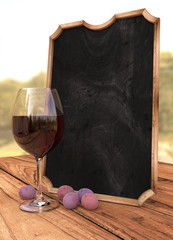 Chalkboard with grapes, wine and nature, 3d illustration