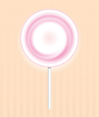 Round spiral pink  lollipop candy on on a vintage background. Vector illustration