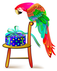 Illustration of curious parrot looking at a gift. Greeting card. Vector cartoon image.