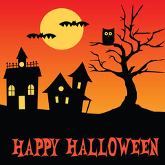 Halloween houses tree and owl scene