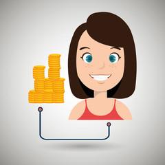 woman cartoon currency money dollar vector illustration eps 10