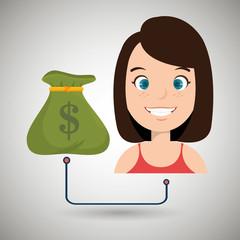 woman cartoon bag money dollar vector illustration eps 10