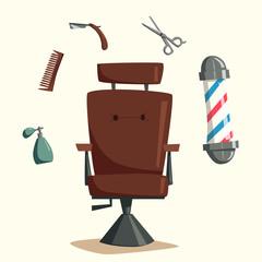 Set of barber shop tools. Cartoon vector illustration