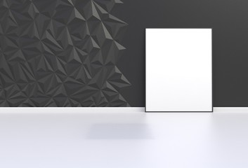 Blank picture in a black room, 3D rendering