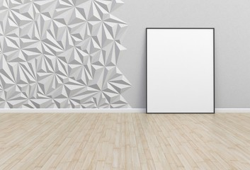 Blank picture in a white room, 3D rendering
