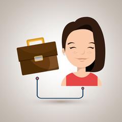woman cartoon suitcase business portfolio vector illustration eps 10