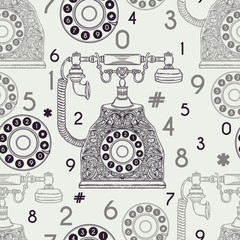 Seamless pattern with vintage phone and numbers. Hand drawn vector illustration
