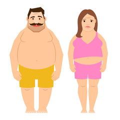 Exercising man and woman isolated on white background. Fat obese people cartoon vector illustration