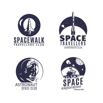 Space logo set in retro style. Vintage astronautics labels and badges with astronaut, space rocket and helmet. Vector illustration