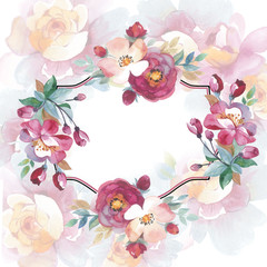 Wildflower rose flower frame in a watercolor style isolated. Full name of the plant: rose, hulthemia, rosa. Aquarelle flower could be used for background, texture, wrapper pattern, frame or border.