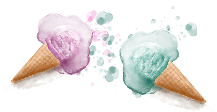 Watercolor melted ice cream cones hand painted illustration