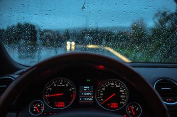 Rainy cold morning at city parking lot 2