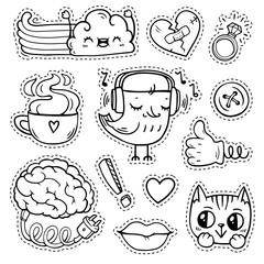 White and black quirky patch badges with fashion elements and cute animals. Hand-drawn stickers and pins in cartoon 80s-90s comic style. Brain with electric cable for charging. Thumbs-up.