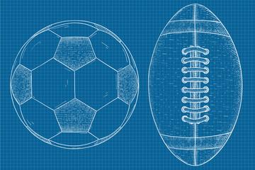 Soccer and football balls. Hand drawn sketch