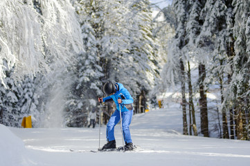 Young female skier is putting on her skis on a sunny day against beautiful snow covered trees on the background. Ski resort. Carpathian Mountains, Bukovel, Ukraine