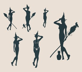 Vector illustration of standing young witches icons set. Witches silhouettes collection. Halloween relative image