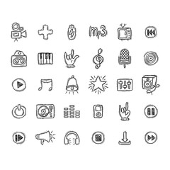 Set of Music Doodle Icons.