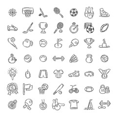 Set of Fitness and Sport doodle icons for web and mobile.