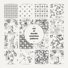 Set of hand drawn doodle seamless patterns.