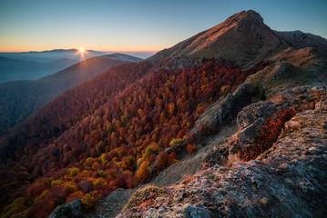 Mountain sunrise, autumn