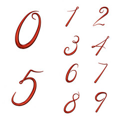 Set of 3d numbers from 0 to 9 isolated on white background. 3d render