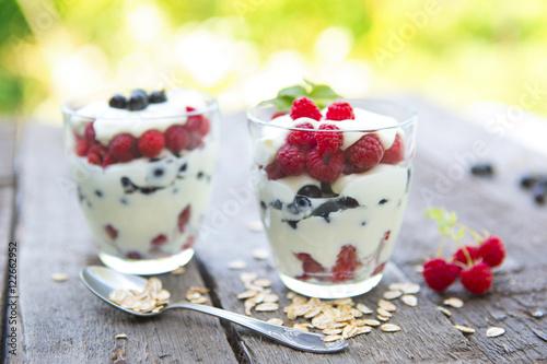 quot yogurt with fresh raspberries black currant and