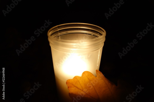 Grave candle light burn