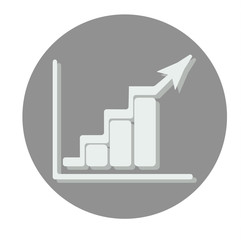 Growing bars graphic icon with rising arrow. Gray circle.