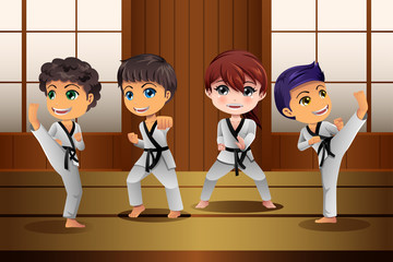 Kids Practicing Martial Arts in the Dojo