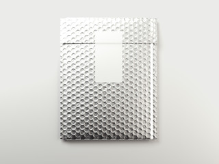 Metal bubbles packaging bag with white sticker. 3d rendering