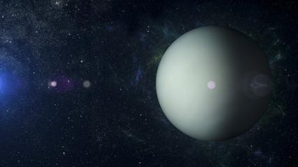 Solar system planet Uranus on nebula background 3d rendering.