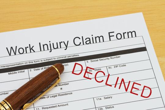 Work Injury Claim Form  Declined