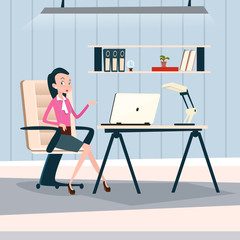 Business Woman Sitting Desk Working Laptop Computer Businesswoman Office Flat Vector Illustration