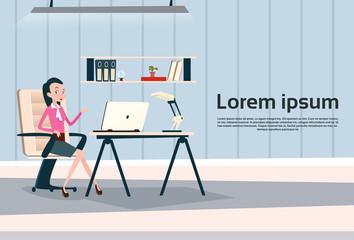 Business Woman Sitting Desk Working Laptop Computer Businesswoman Office Flat Vector Illustration