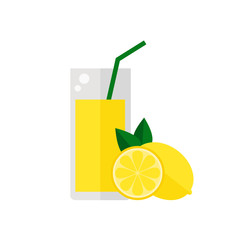 Lemon fruit juice isolated icon on white background. Glass of juice with tubule. Flat style vector illustration.