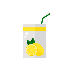 Pack of juice. Lemon pack of juice icon isolated on white background. Fresh lemon juice. Flat style vector illustration.