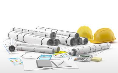 Proyecto de un arquitecto con cascos para una obra