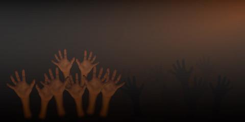 Human hand on dark brown background