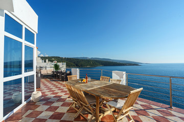 Terrace of a luxury villa with a sea view