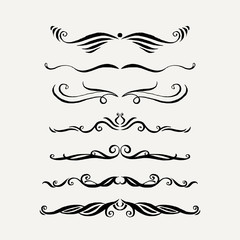 Vector set of elegant curls and swirls. Elements for design.
