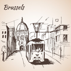Brussels street view with tram.