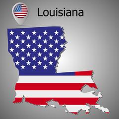 Louisiana map flag and text vector illustration